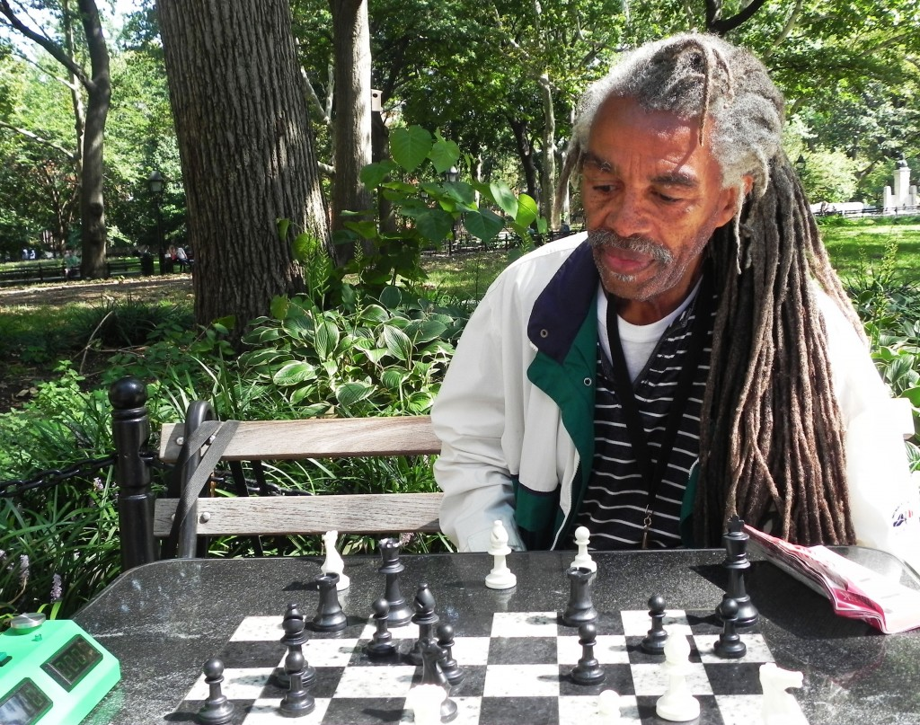 My first time ever playing chess in Washington Sq. My opponent was this gentlemen, Al. We bet four dollars and I lost, but not without putting up a fight!